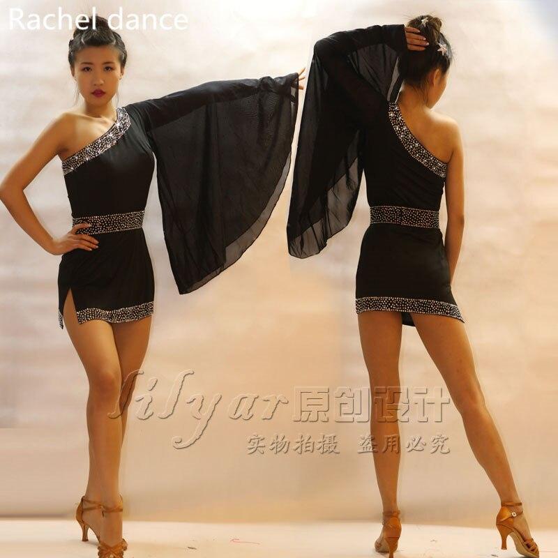 2017 New Latin Dance Dress Women Shoulder Diamond