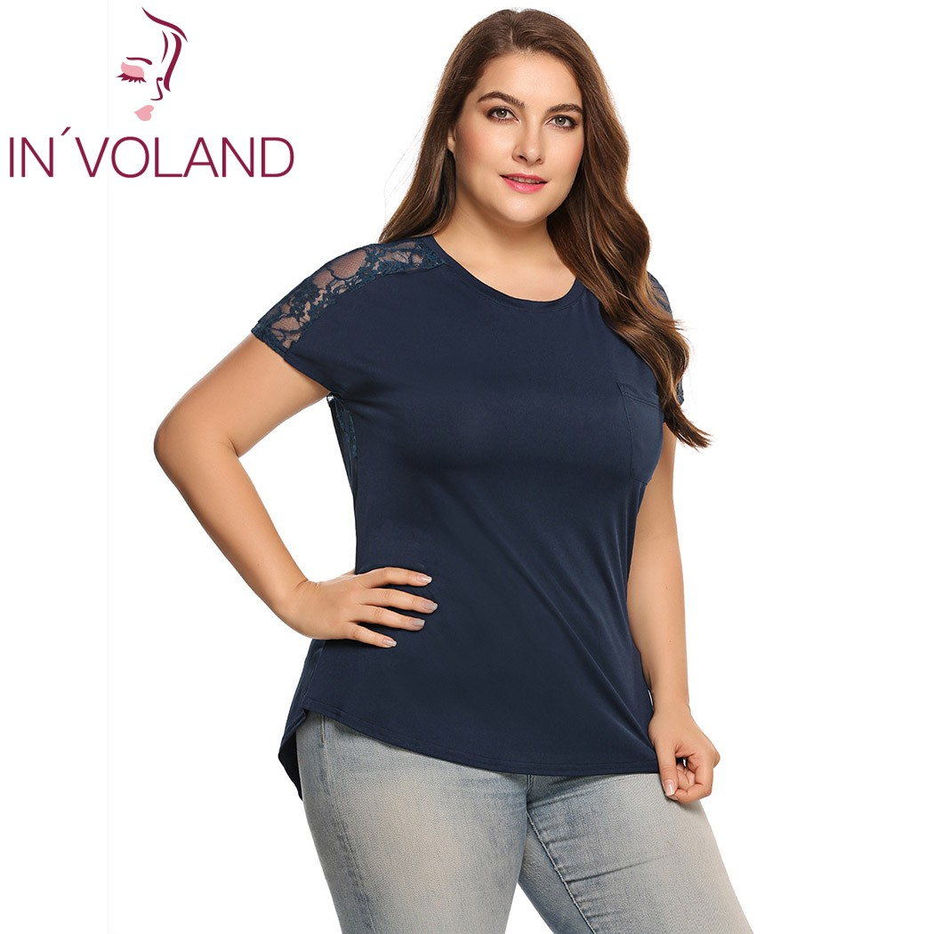 IN'VOLAND Women T-Shirts Tops Summer Fashion Plus Size O-Neck Short Sleeve Lace Patchwork Ladies Tshirt Female Tees Oversized