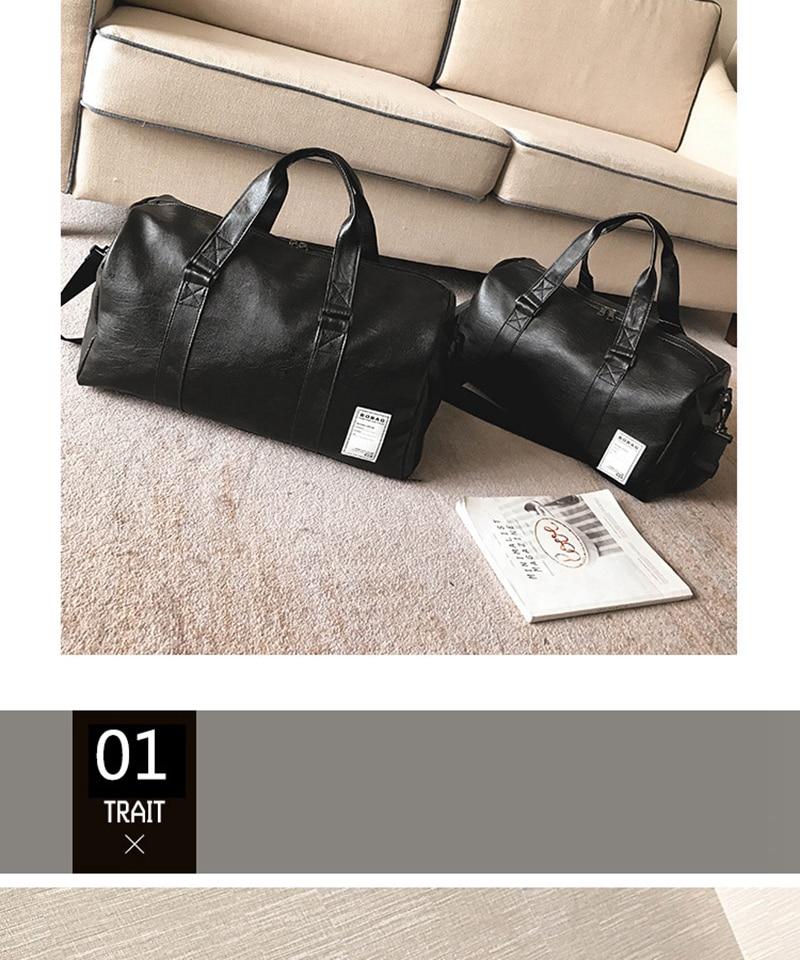 Gym Bag Leather Sports Bags Big MenTraining Tas for Shoes Lady Fitness Yoga Travel Luggage Shoulder Black Sac De Sport XA512WD (3)