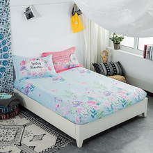HELENGILI FLOWER Pattern Cotton Protective Sleeve Fitted Mattress Cover Single Bed Bedspread 1.5/1.8m Anti Slip Fitted Sheets