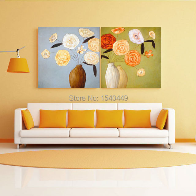 Handmade 2 Piece Abstract Rose Flower Vase Oil Painting Canvas Art For Sale Modern Living Room