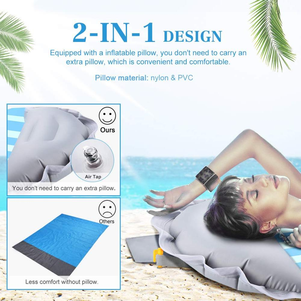 Outdoor Beach Mat Camping Picnic Mat Lightweight Sand Proof Blanket Beach Sleeping Pad with Inflatable Pillow for Travel Hiking in Camping Mat from Sports Entertainment