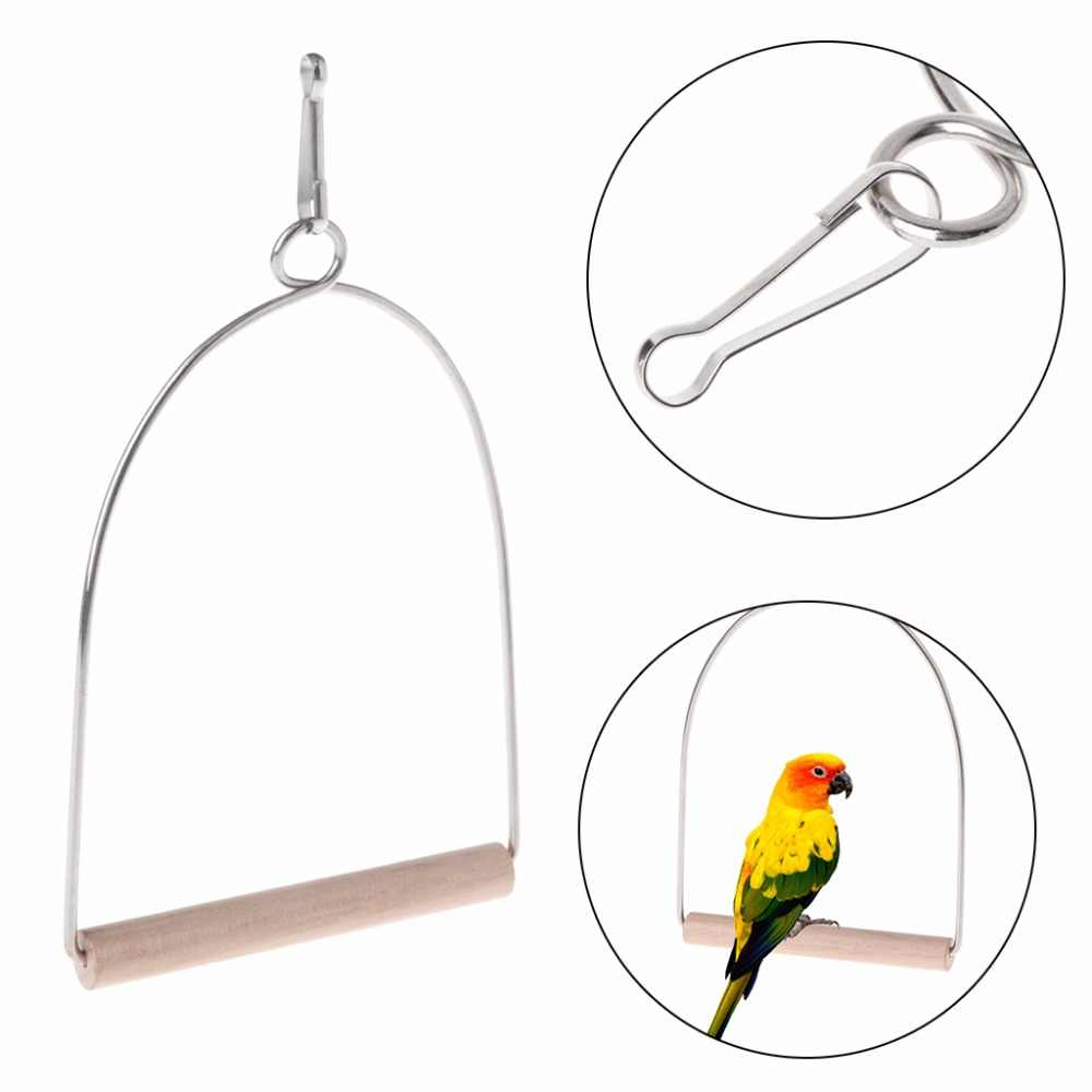New Natural Wooden Birds Parrots Perch Stand Hanging Swing Cage Accessories Toys Stand Holder Pendant Bird Supplies