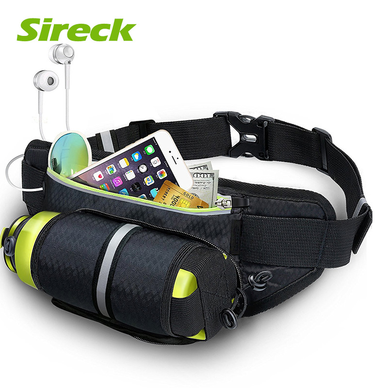 Sireck Running Bag With Water Bottle Pack Waist Belt Pouch For Phone Waterproof Sports Bag Fitness Gym Bags Running Accessories
