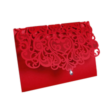 50 pieces/lot Chinese Red Laser Cutting Invitation cards, Business invitation card with Customizable Inner sheet