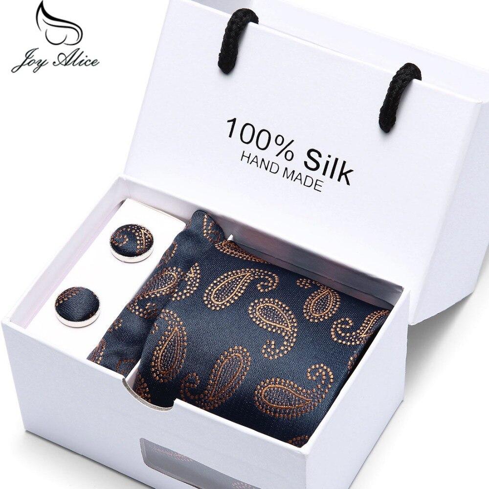 Alegria laços dos homens pescoço De Casamento De Alice embalagem da caixa de presente dos homens marca de luxo quadrado bolso gravata de seda gravata abotoaduras conjunto lenço