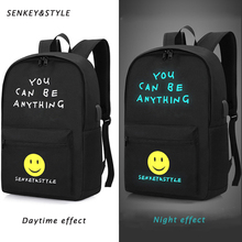 цена Senkey &Style Smiley Face Student Backpack Luminous USB Charge Laptop Computer Backpacks For Teenager Anti-theft Boys School Bag онлайн в 2017 году