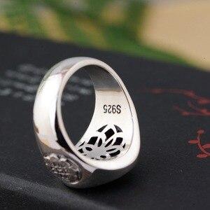 Image 3 - 100% prawdziwe 925 Sterling Silver Thai srebrny obrócone pierścienie na prezent dla mężczyzny trigram pierścień Vintage Fashion biżuteria męska Anillos A1641