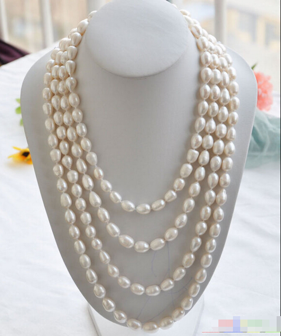 Free shipping@@@@@ P4298 Long 100 14mm white rice FRESHWATER CULTURED pearl necklace