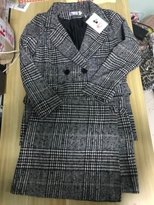 Image 5 - CBAFU di autunno della molla giacca a maniche lunghe cappotto delle donne outwears plaid tweed gonne delle donne del vestito 2 pezzi imposta donne vestiti N630