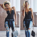 New Womens Hollow Casual Sleeveless Bandage Bodycon Tops Loose Ladies Lace Sexy T Shirt