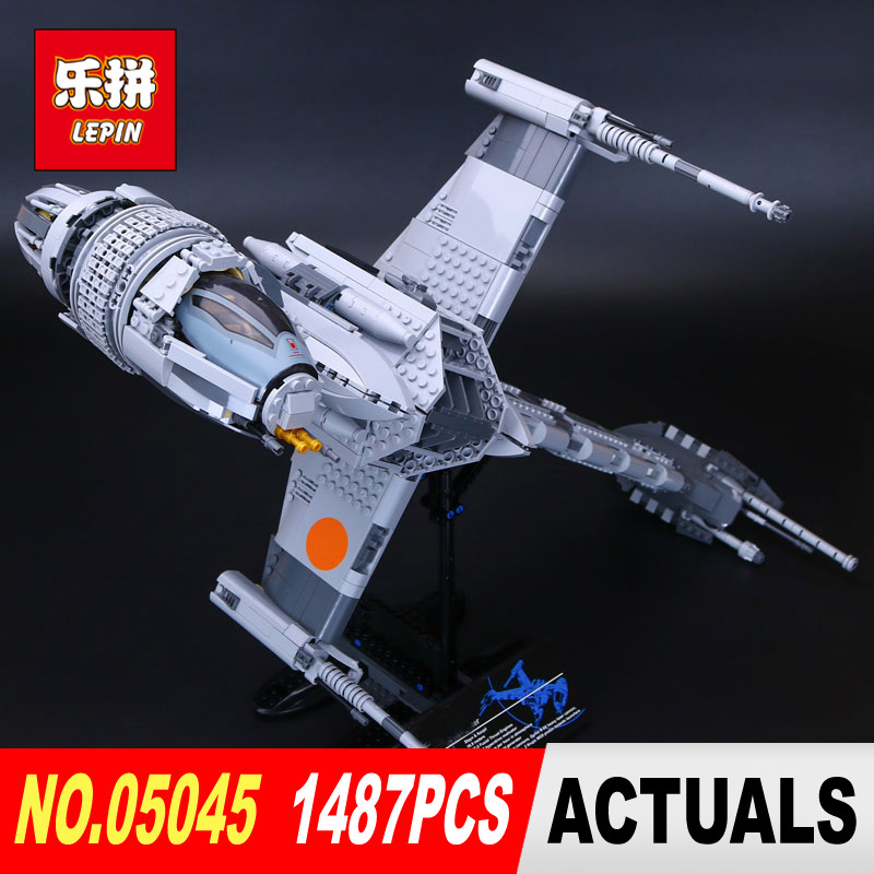 DHL Lepin 05045 Star 1487Pcs classic Wars Genuine  The B-wing Starfighter Building Blocks Bricks Educational Toys model 10227 lepin 05040 y attack starfighter wing building block assembled brick star series war toys compatible with 10134 educational gift