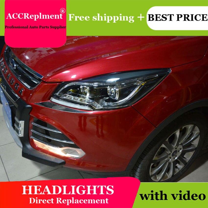 Тюнинг автомобилей для Ford Kuga Побег ксенон 2013 2015 для Kuga СИД DRL сборки со светодиодной подсветкой фар Биксеноновые h7 HID комплект