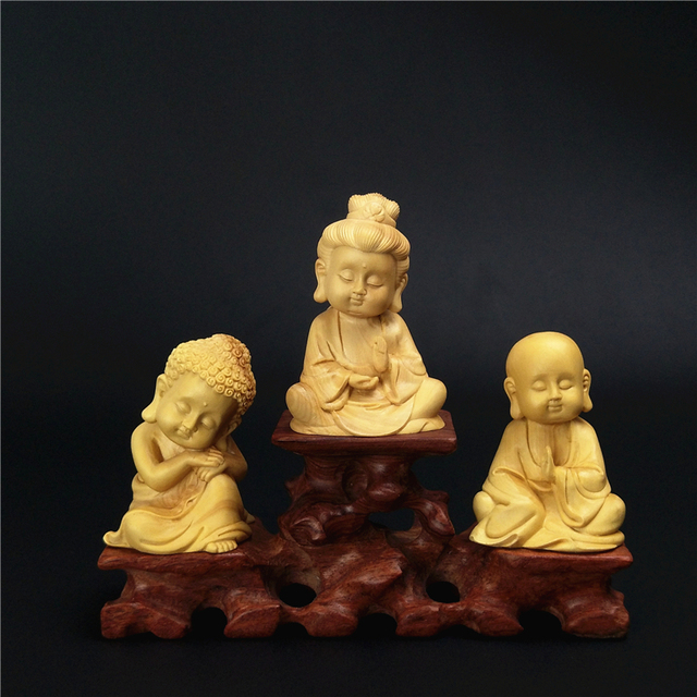Wood three figures exquisite natural boxwood carving buddha q