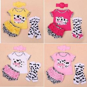 Одежда для кукол reborn babies, милая короткая футболка с коровой, комбинезон, штаны PP, подходит для 50-55 см, силиконовые куклы reborn, 4 шт./компл.