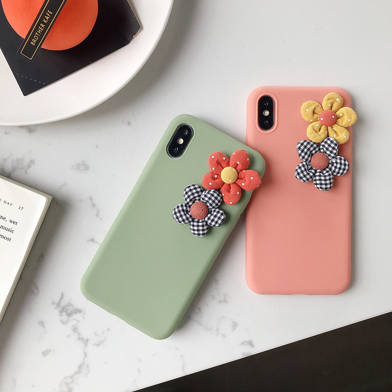 Image 2 - 3D Artificial Cloth Flower Phone Case For iPhone 8 7 6 6s Plus Cover For iPhone X XS Max XR Fashion Floral DIY Soft Back Cover-in Fitted Cases from Cellphones & Telecommunications