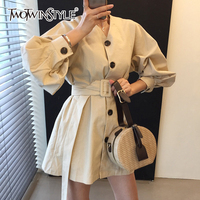 TWOTWINSTYLE Mini Dress Female High Waist Lantern Sleeve Single Breasted With Belt White Womens Dresses 2018 Autumn Casual Style