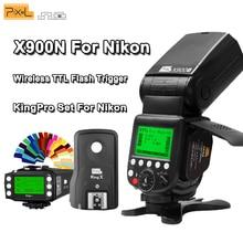 Pixel X900N X900 TTL 2.4G HSS Wireless S1/S2+Lithium Battery Flash Speedlite+King Pro Set for Nikon DSLR Cameras With LED Light
