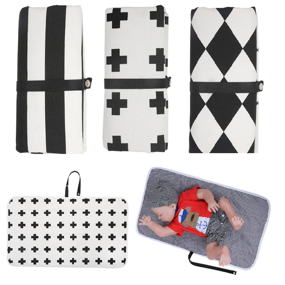 Portable Clean Hands Changing Pad Print Waterproof Stroller Hanging Diaper Bag Clutch Foldable Travel Nappy Diaper Changing Mat