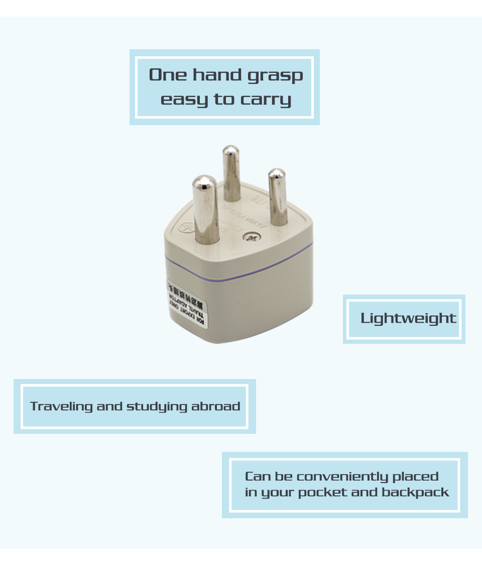 Universal UKUSEUAU to Small South Africa Plug AC Power Multi Outlet Adapter 3 pin Travel Converter Socket India travel (8)