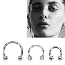 QCOOLJLY 1 шт., модное круговое кольцо в форме подковы, кольца для носа и перегородки, кольца для пирсинга, ювелирные изделия для тела для женщин и мужчин