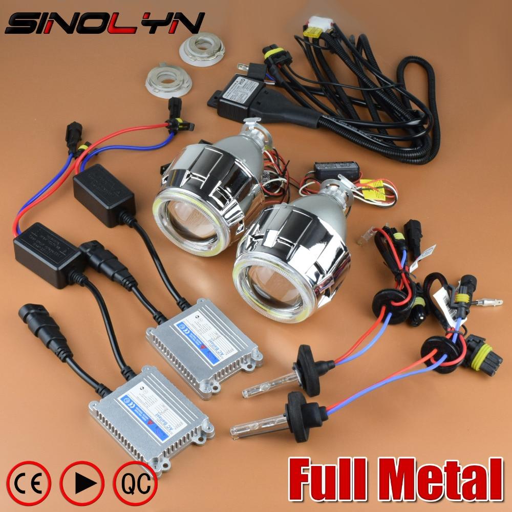 Sinolyn Projector Headlight 2.5'' Lenses Bi-xenon Angel Eyes Full Kit Metal Lens For H4 H7 Car Accessories Retrofit Use H1 HID