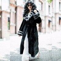 Настоящий натуральный мех кролика рекс пальто с мехом женские длинные 120 см длинные пальто с мехом