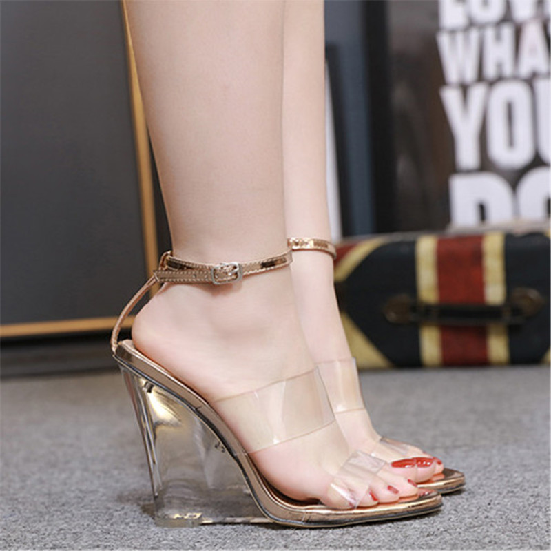 Wedge Heel High Color Size 5 Sandals Clear