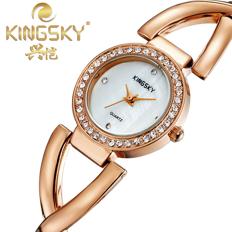 Hot Selling 2015 New Fashion Women Full steel Strap Band Analog Quartz Wrist Watches K8007
