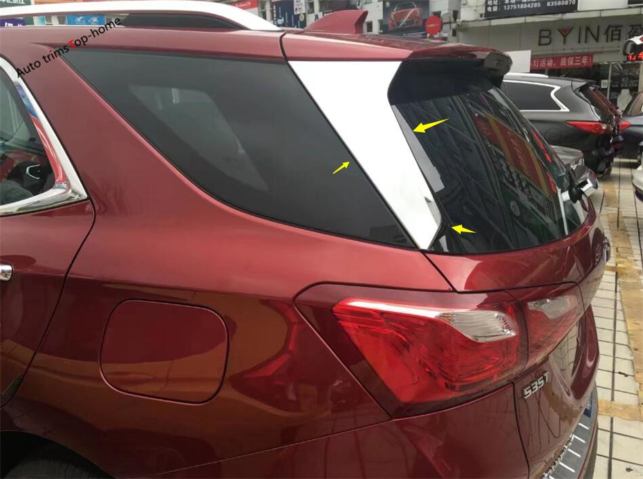 Yimaautotrim накладка на заднее окно в полоску, декоративная накладка, 2 шт., подходит для Chevrolet Equinox 2017 2020 ABS, хромированный стиль