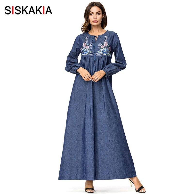 8a59971e6f78c Siskakia Denim Embroidery long Dress for Women Autumn Fall 2018 Muslim  Casual Dresses Korea High Waist Swing Draped Maxi Dress