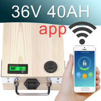 36V 40AH APP Lithium ion Electric bike Battery Phone control USB 2.0 Port Electric bicycle Scooter ebike Power 2000W Wood