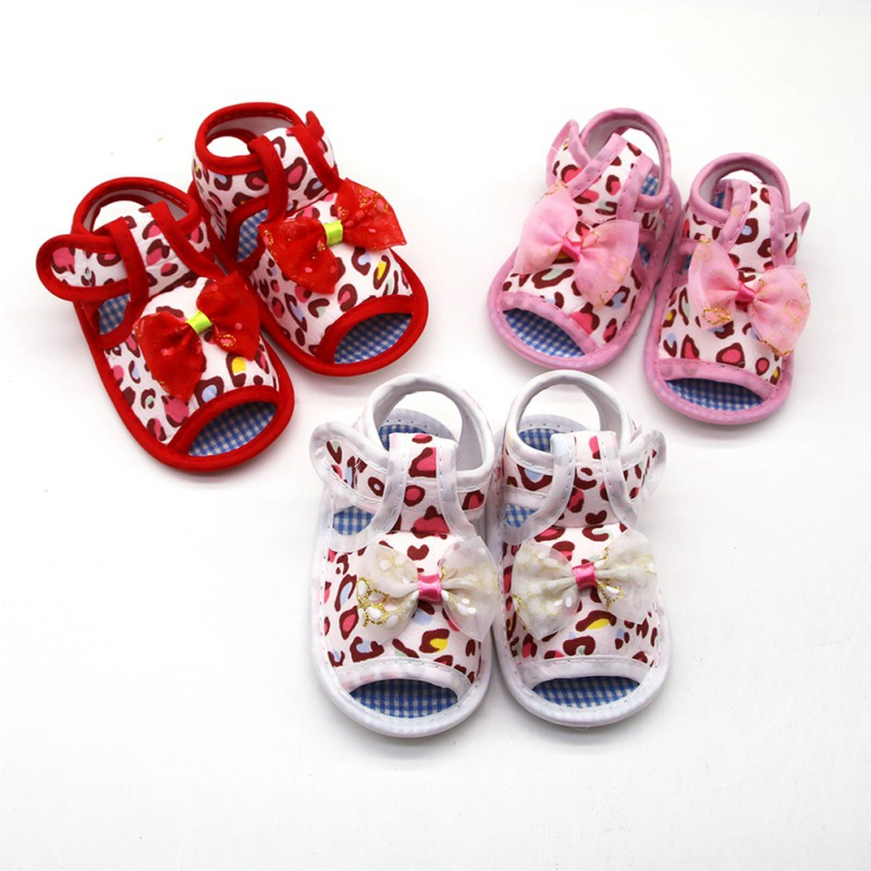 Summer Baby Girl Sandals Cotton Canvas Dotted Bow Playtoday Beach Newborn Baby Shoes