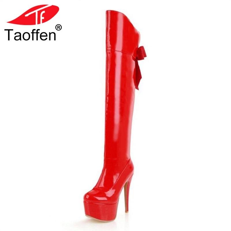 TAOFFEN Plus Size 33-48 Sexy Women High Heel Boots Bowknot Zipper Platform Warm Shoes Women Patent Leather Over Knee Boots taoffen women high platform shoes patent leather star lady casual fashion wedge footwear heels shoes size 33 48 p16184