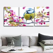 Laeacco Canvas Painting Calligraphy 3 Panel Bird and Flower Wall Art For Home Decor Picture for Living Room Bedroom Decoration beautiful flower and bird design ceramic bedroom furniture seat stool for decoration