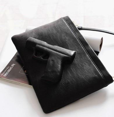 ФОТО 2016 New Women Messenger Bags Vlieger Vandam 3D Pistol Bag Day Envelope Women Clutch Bag Vintage 3D Gun Bags Drop Shipping