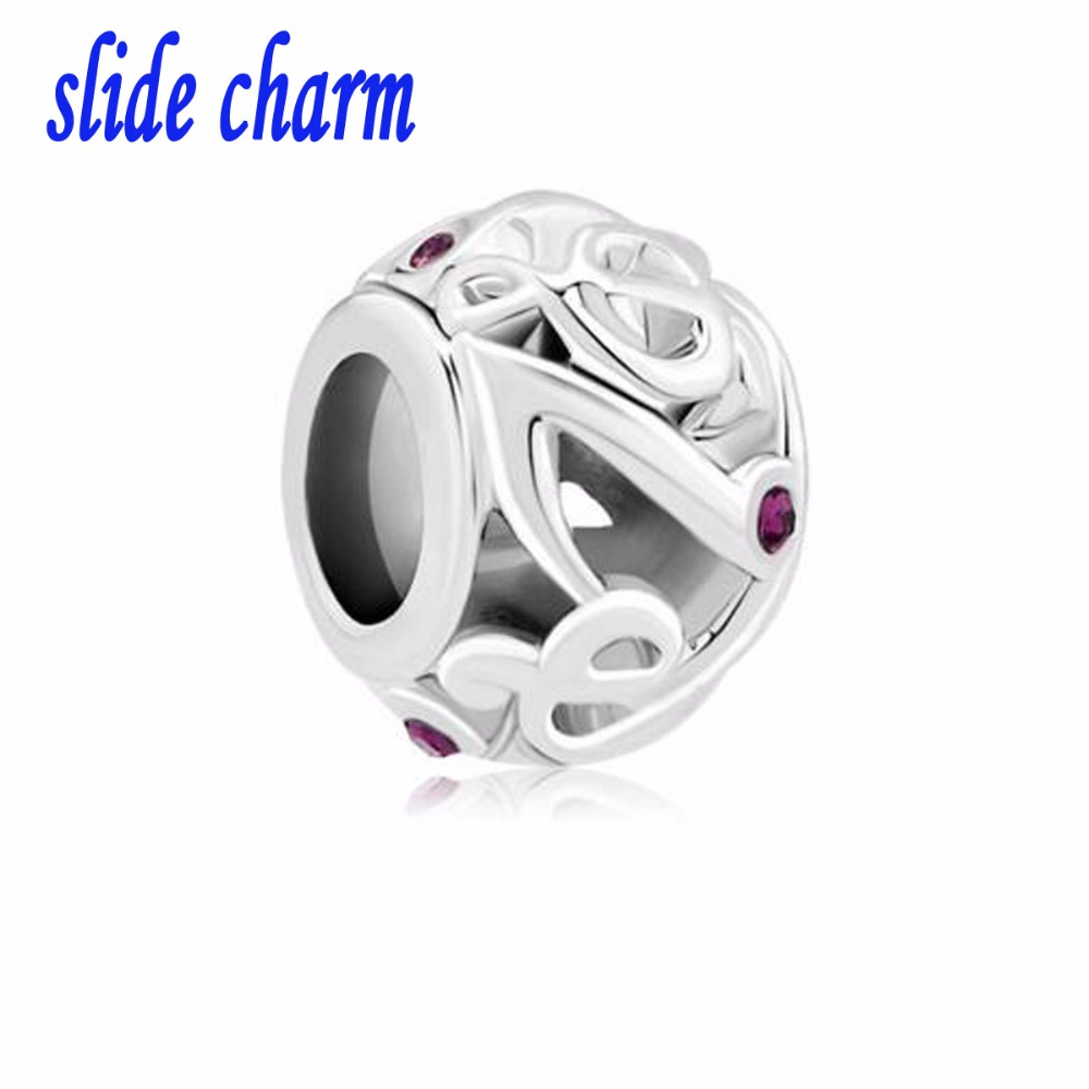 slide charm Free shipping Music Notes With Purple Crystal Cz For Beads Charms Bracelets fit Pandora bracelet