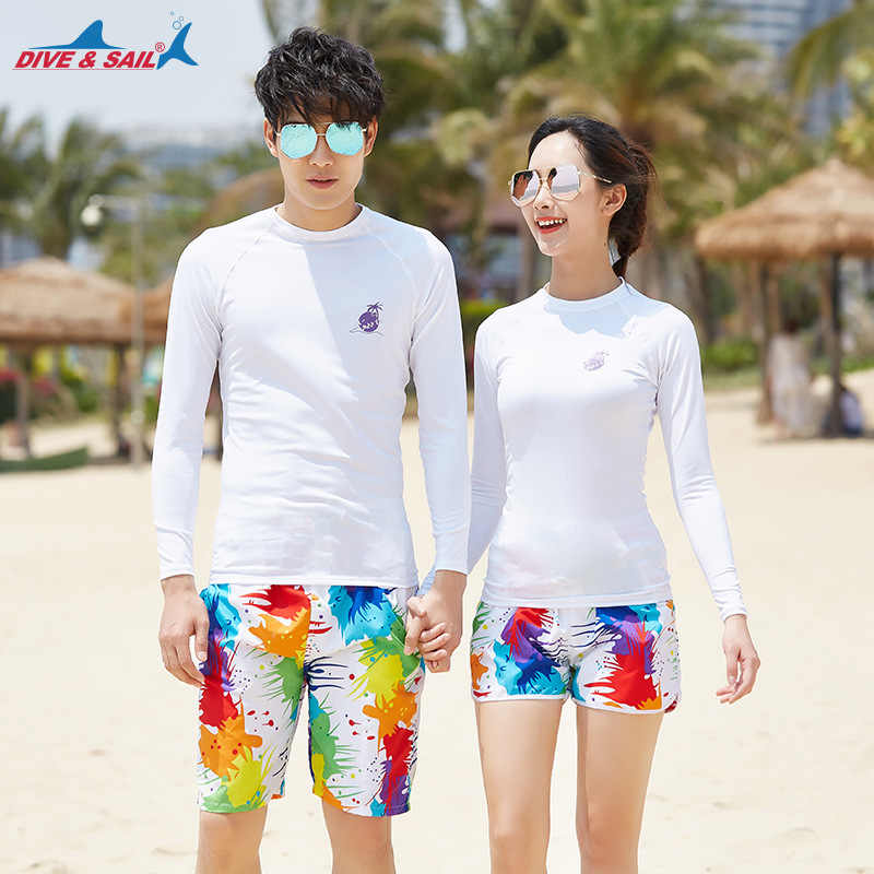 Mannen vrouwen Splice UV Zonbescherming UPF 50 + Skins Rash Guard Lange Mouwen Shirt Trunks Quick Dry tops en korte set badmode