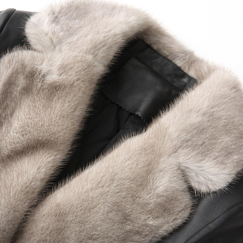 Femmes Chaud Peau Naturel De Npi 80124c Fourrure Épais Col Cuir D'hiver Mouton Veste Femelle Véritable En Vison Manteau Conception Longue Black zxqn1Ywndf