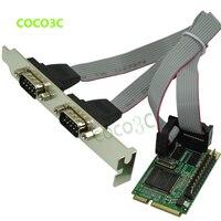Free Shipping Mini PCI E TO 2 RS 232 Ports Adapter For Mini ITX Motherboard Mini