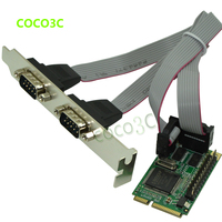Free shipping Mini PCI E TO 2 RS 232 Ports adapter for Mini ITX motherboard Mini PCIe 2 Serial DB9 Ports Controller Card