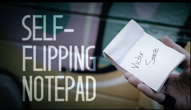 Self-Flipping Notepad (DVD and Gimmick) by Victor Sanz, Street Magic,Mentalism Magic Trick,Illusion,Close up magic image