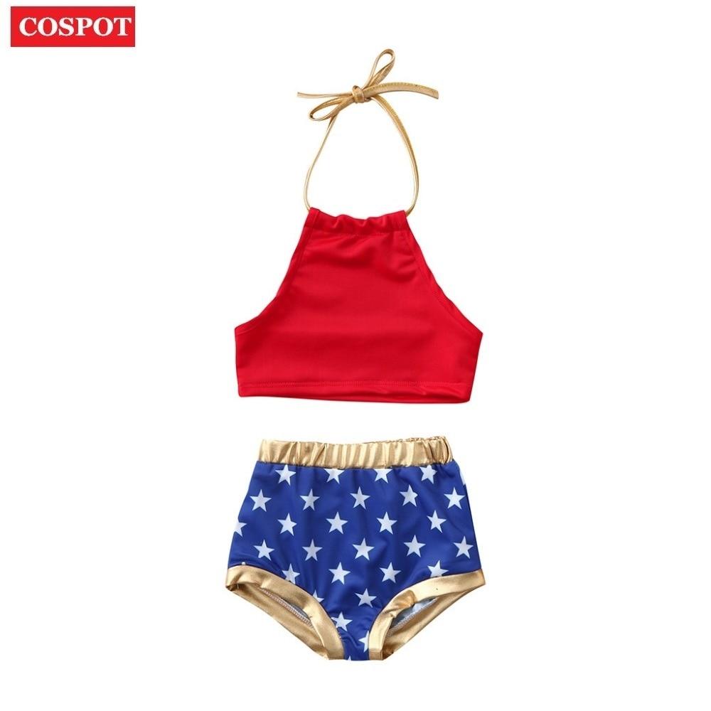 COSPOT Baby Girls Summer Bikini Set Girls 2pcs Swimsuits Bebes Stars Print Swimwear Kids Swim Suit Girl's Swim Wear 2019 New 30
