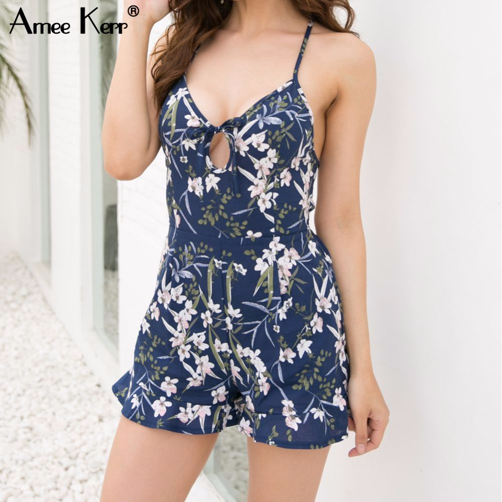 Amee Kerr Floral Print Hollow V-neck Playsuit Ruffles Backless Womenns Short Summer Jumpsuit Swimsuit Plus Size