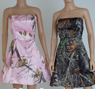 Strapless Camouflage Printing Camo Bridesmaid Dresses Short 2019 New Styles Size 0 Custom Make Free Shipping