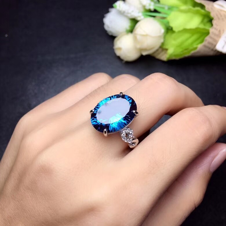 Image 4 - Uloveido Natural Blue Topaz Ring, 10 Carat Gemstone,925 Silver Rings,Birthstone Ring, with Certificate and Gift Box 20% FJ304-in Rings from Jewelry & Accessories