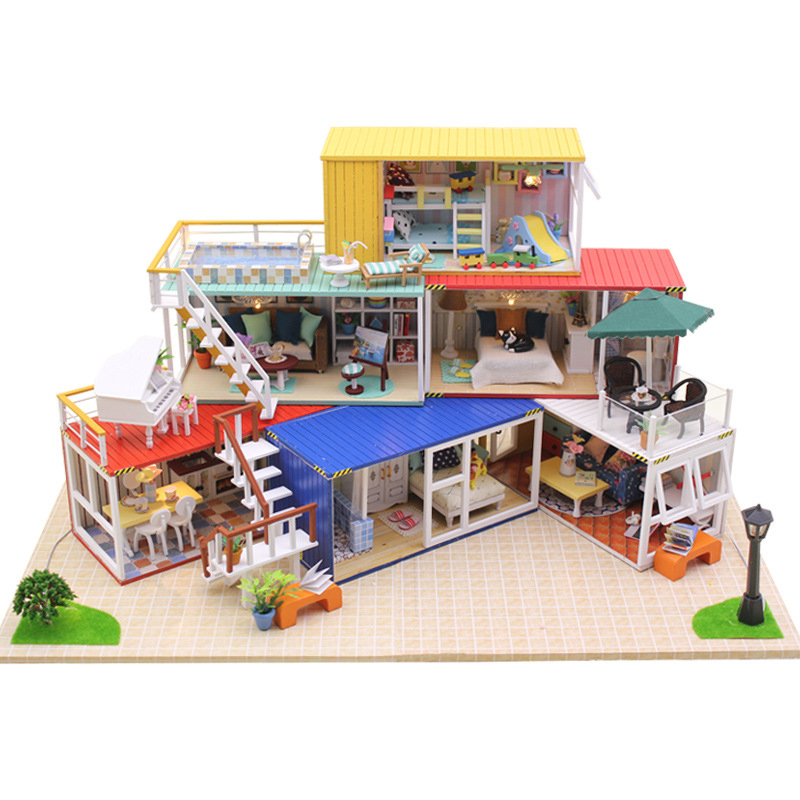 DollHouse Container Home Miniature With Furnitures Wooden DIY Doll House Handmade Building Model Toy YOUR NAME Suit 13843 #E
