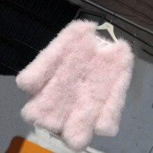 autumn winter natural ostrich fur coat real turkey fur coat for women fashion colorful genuine overcoat