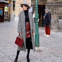 Черно белый Qianbi Ge шерсть иглы пальто зима 2019 Новый американский ветер большой Размеры Для женщин одежда зеленый вилочки для фруктов Шерстян
