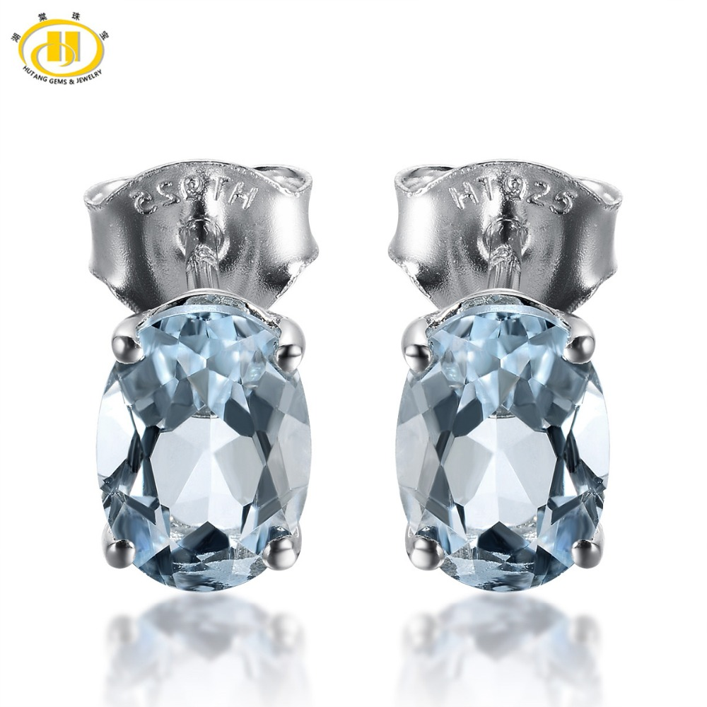 HUTANG 1.341ct Natural Aquamarine Oval 7x5mm Stud Earrings Solid 925 Sterling Silver Gemstone Fine Jewelry Womens gift